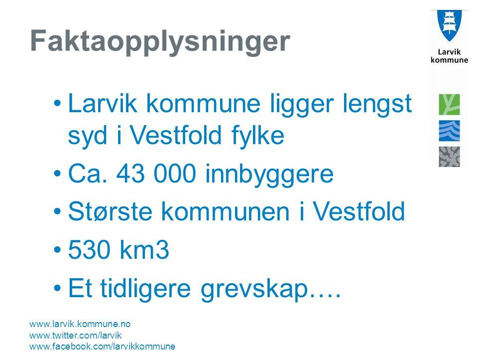 www.larvik.kommune.no www.twitter.com/larvik www.facebook.com/larvikkommune Faktaopplysninger Larvik kommune ligger lengst syd i Vestfold fylke Ca. 43
