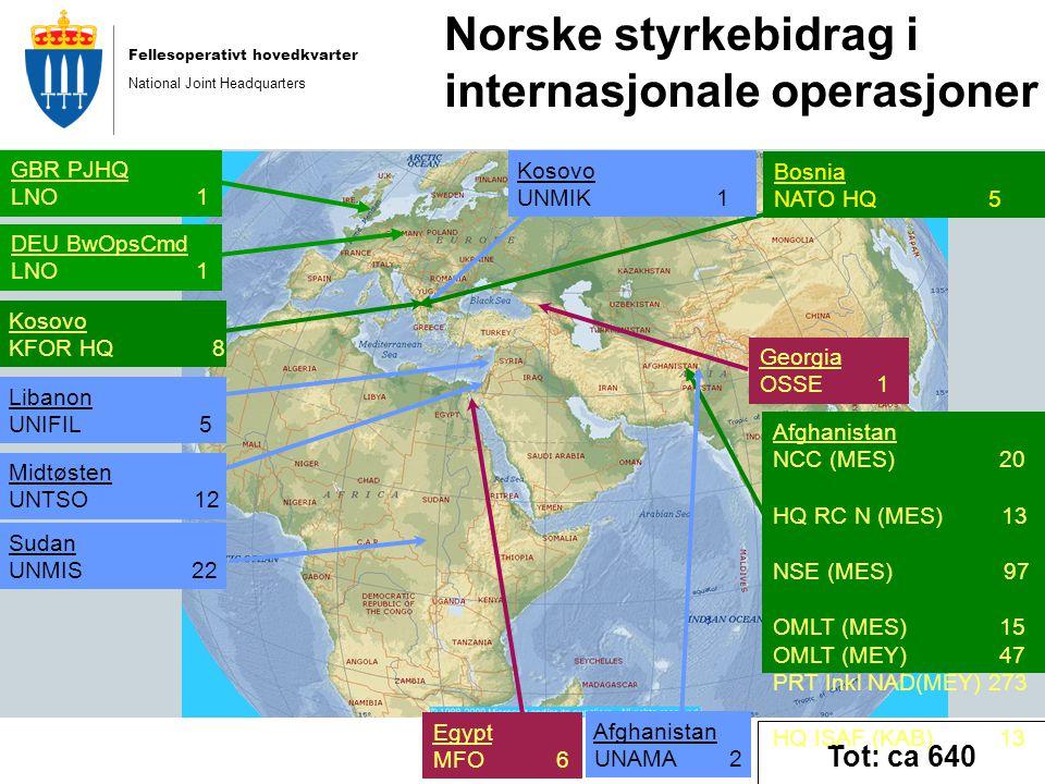 Fellesoperativt hovedkvarter National Joint Headquarters Egypt MFO 6 Tot: ca 640 Midtøsten UNTSO 12 Sudan UNMIS 22 Bosnia NATO HQ 5 GBR PJHQ LNO 1 Afghanistan NCC (MES) 20 HQ RC N (MES) 13 NSE (MES) 97 OMLT (MES) 15 OMLT (MEY) 47 PRT Inkl NAD(MEY) 273 HQ ISAF (KAB) 13 NORASOC (RC-C) Kosovo KFOR HQ 8 DEU BwOpsCmd LNO 1 Kosovo UNMIK 1 Afghanistan UNAMA 2 Libanon UNIFIL 5 Norske styrkebidrag i internasjonale operasjoner Georgia OSSE 1