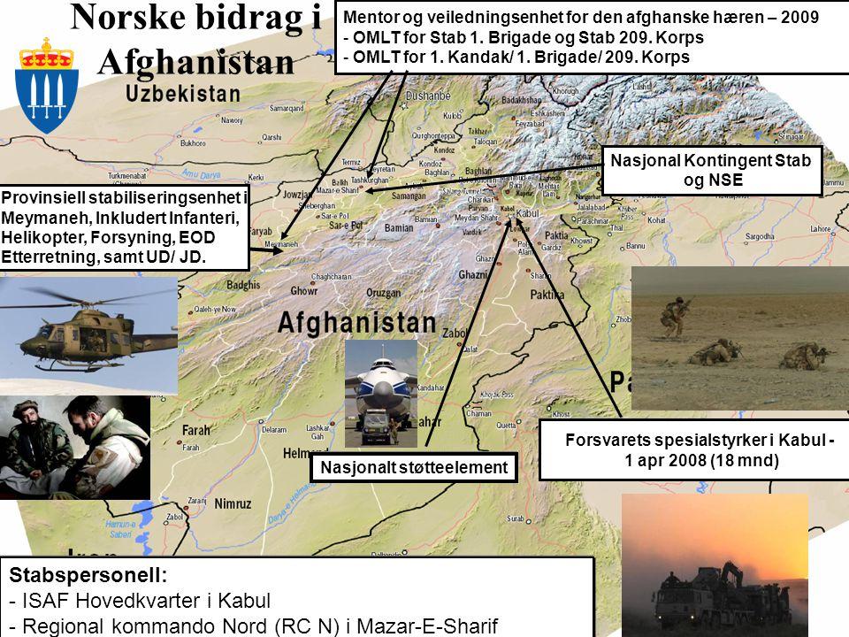 Fellesoperativt hovedkvarter National Joint Headquarters Norske bidrag i Afghanistan Nasjonalt støtteelement Provinsiell stabiliseringsenhet i Meymane