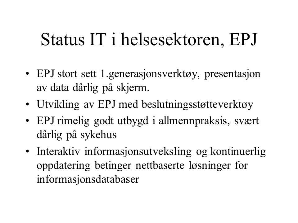 Status IT i helsesektoren, EPJ EPJ stort sett 1.generasjonsverktøy, presentasjon av data dårlig på skjerm.