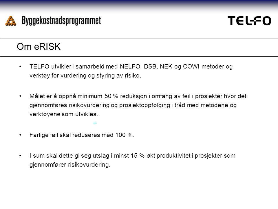 Om eRISK TELFO utvikler i samarbeid med NELFO, DSB, NEK og COWI metoder og verktøy for vurdering og styring av risiko.