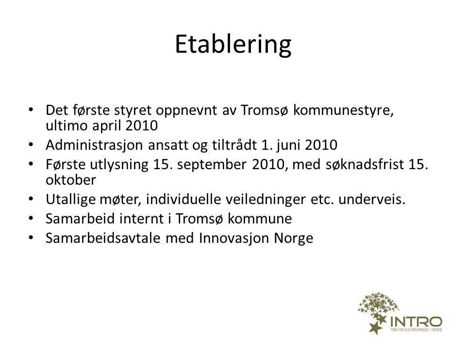 Mål og mandat Mål: Styrke Tromsø-regionens attraktivitet Mandat: Næringsutvikling innen kultursektoren Investere i prosjekter som dreier seg om forretningsutvikling Profesjonalitet og økonomisk verdiskaping Talentutvikling Kunnskapsutvikling Proaktiv virksomhet