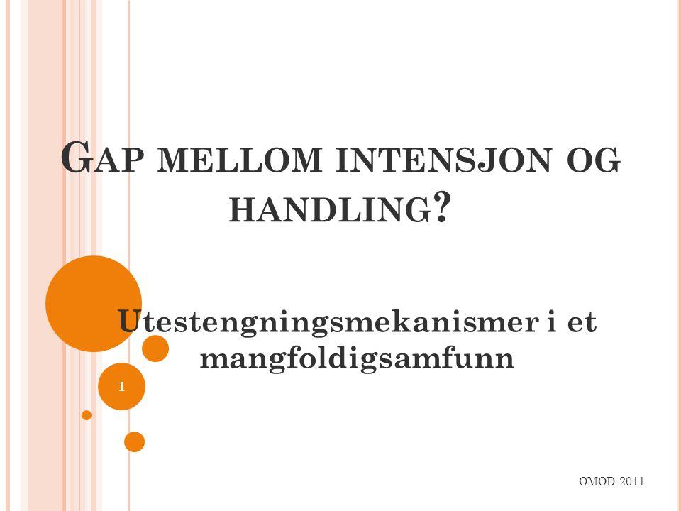 G AP MELLOM INTENSJON OG HANDLING ? Utestengningsmekanismer i et mangfoldigsamfunn OMOD 2011 1