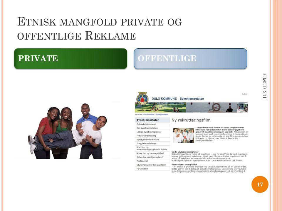 E TNISK MANGFOLD PRIVATE OG OFFENTLIGE R EKLAME OMOD 2011 17 PRIVATE OFFENTLIGE