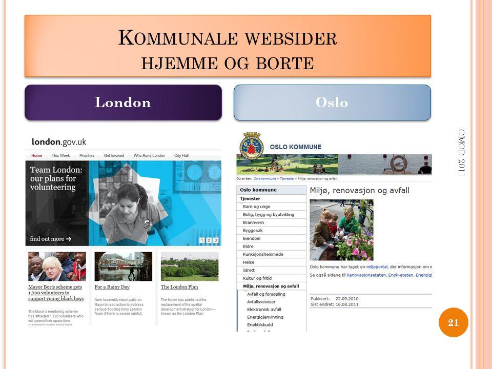 K OMMUNALE WEBSIDER HJEMME OG BORTE OMOD 2011 21 London Oslo