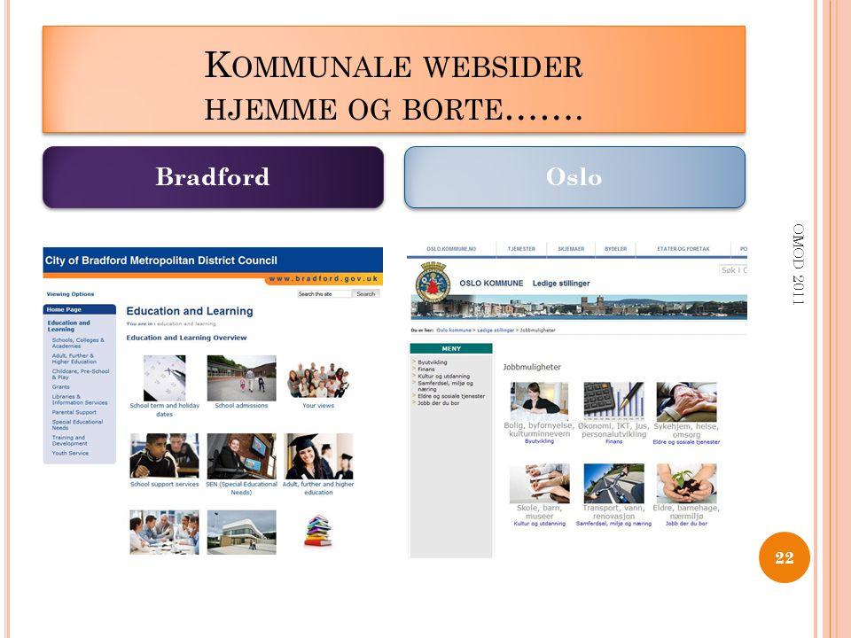 K OMMUNALE WEBSIDER HJEMME OG BORTE ……. OMOD 2011 22 Bradford Oslo