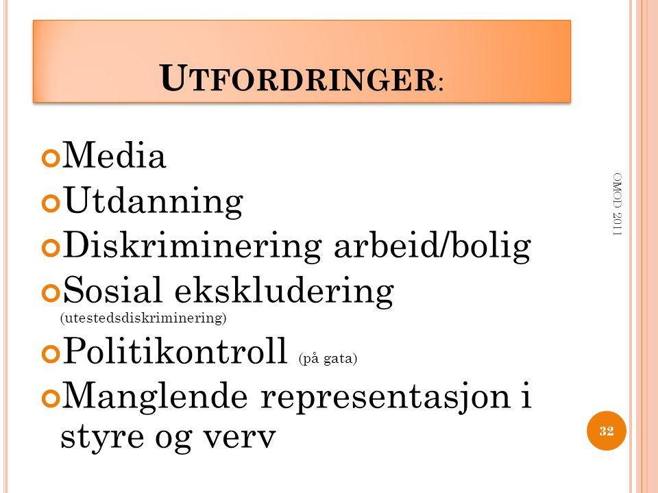 U TFORDRINGER : Media Utdanning Diskriminering arbeid/bolig Sosial ekskludering (utestedsdiskriminering) Politikontroll (på gata) Manglende representa