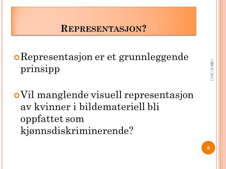 R EPRESENTASJON ? Representasjon er et grunnleggende prinsipp Vil manglende visuell representasjon av kvinner i bildemateriell bli oppfattet som kjønn