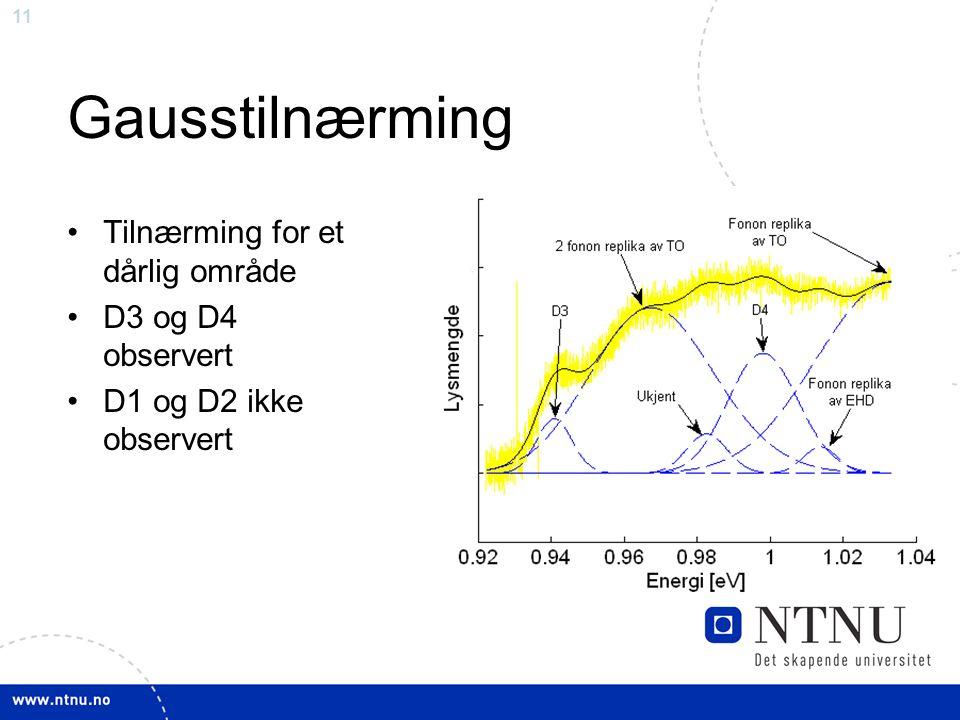11 Gausstilnærming Tilnærming for et dårlig område D3 og D4 observert D1 og D2 ikke observert