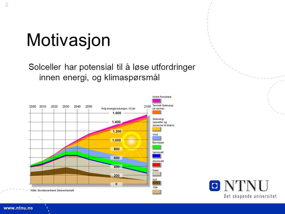 2 Motivasjon Solceller har potensial til å løse utfordringer innen energi, og klimaspørsmål