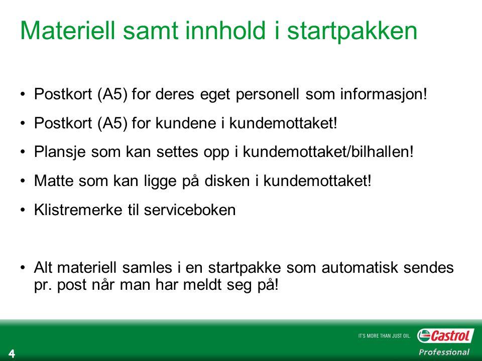 4 Materiell samt innhold i startpakken Postkort (A5) for deres eget personell som informasjon.