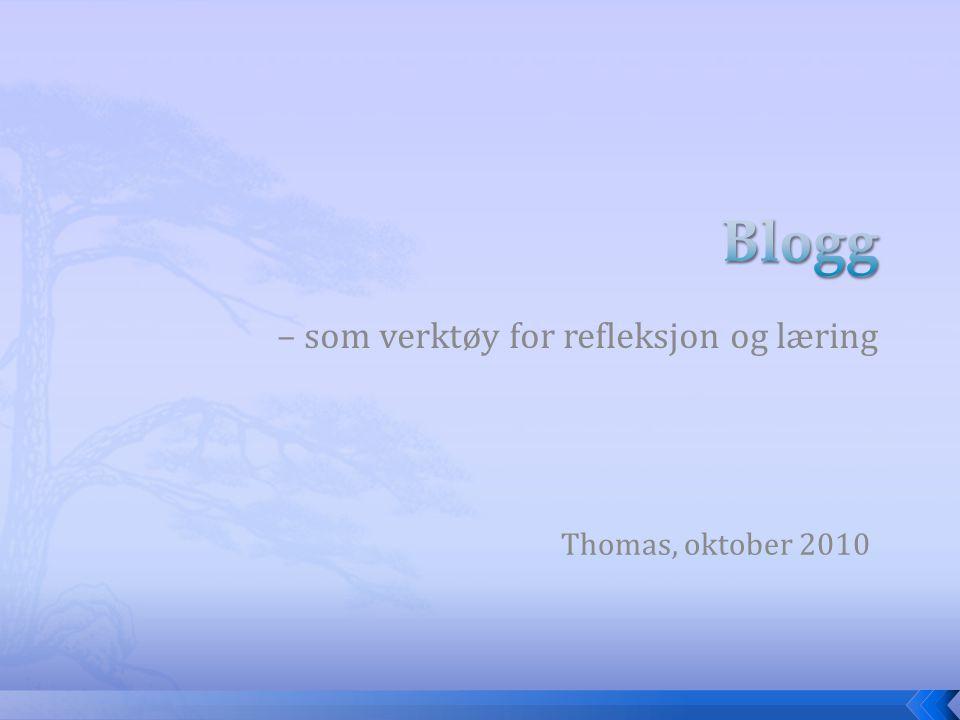 – som verktøy for refleksjon og læring Thomas, oktober 2010