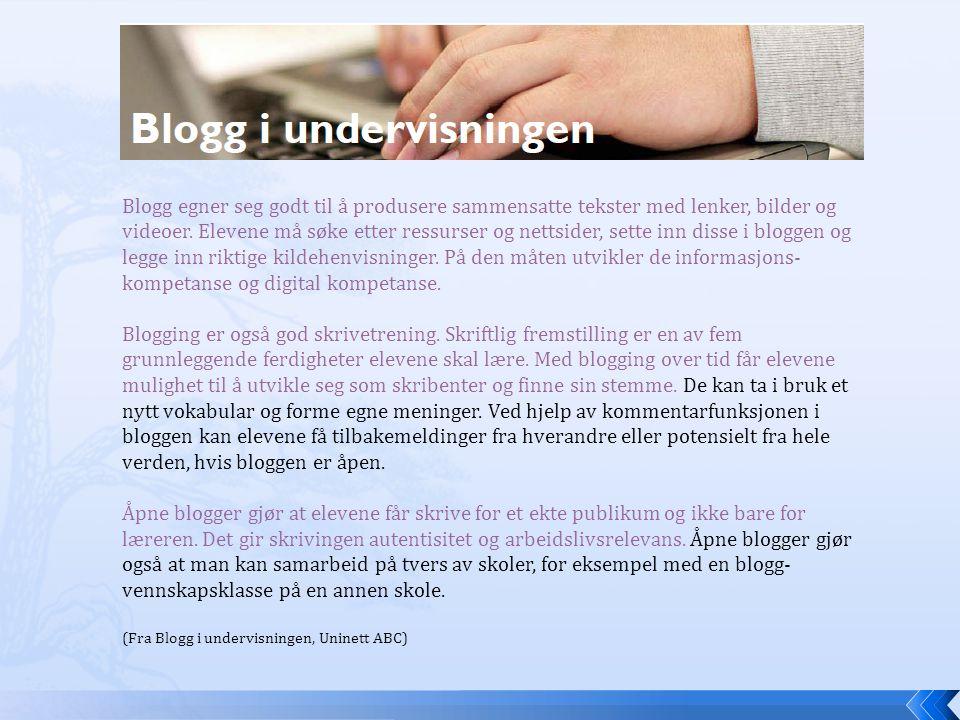 Blogg egner seg godt til å produsere sammensatte tekster med lenker, bilder og videoer.