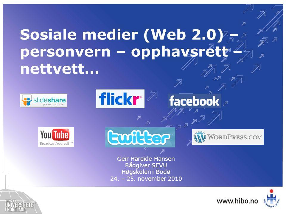 Web 2.0 (fra Wikipedia) Deltakerdrevne, interaktive nettjenester Ta i bruk kollektiv intelligens Aktiv deltakelse Delingskultur Eksempler: –Blogg, wiki, YouTube, Facebook, Twitter osv –Diskusjonsforum knyttet til nyheter i media –Osv…