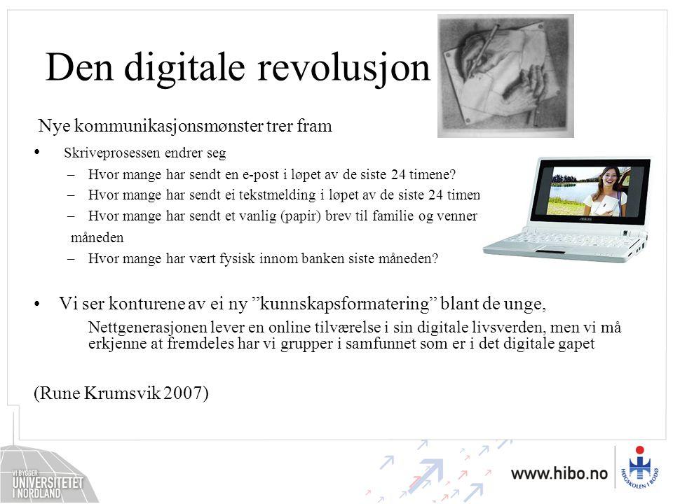 Den digitale revolusjon Nye kommunikasjonsmønster trer fram Skriveprosessen endrer seg –Hvor mange har sendt en e-post i løpet av de siste 24 timene?