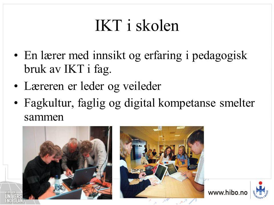 IKT i skolen En lærer med innsikt og erfaring i pedagogisk bruk av IKT i fag. Læreren er leder og veileder Fagkultur, faglig og digital kompetanse sme