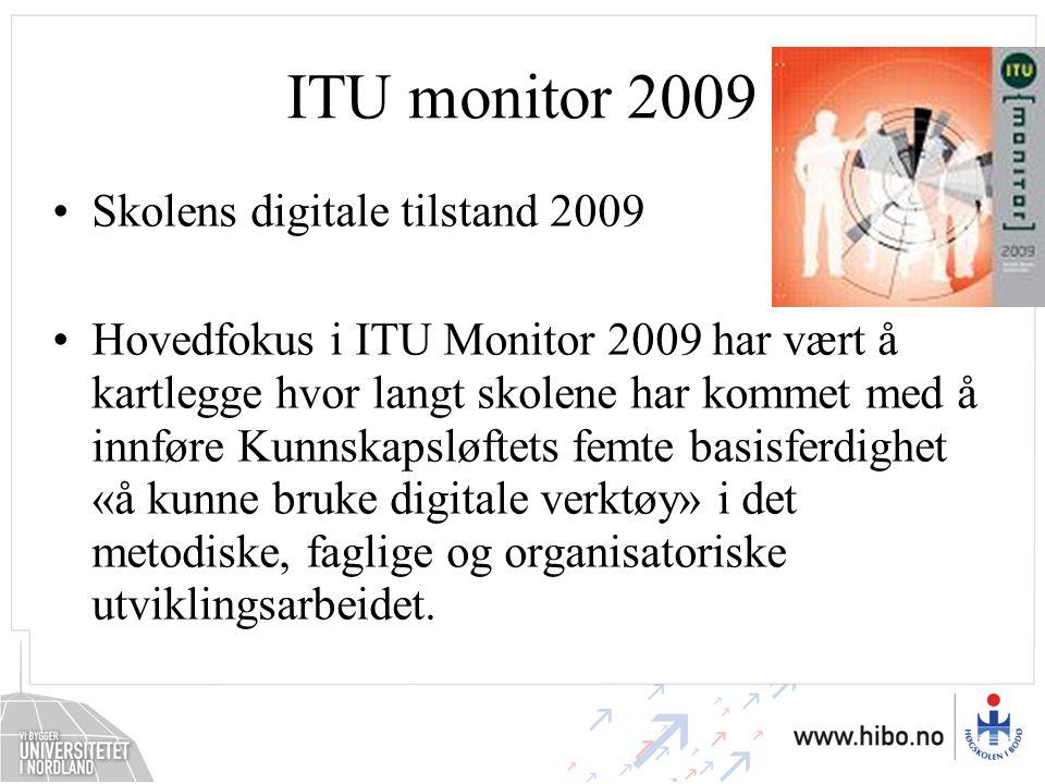 ITU monitor 2009 Skolens digitale tilstand 2009 Hovedfokus i ITU Monitor 2009 har vært å kartlegge hvor langt skolene har kommet med å innføre Kunnska