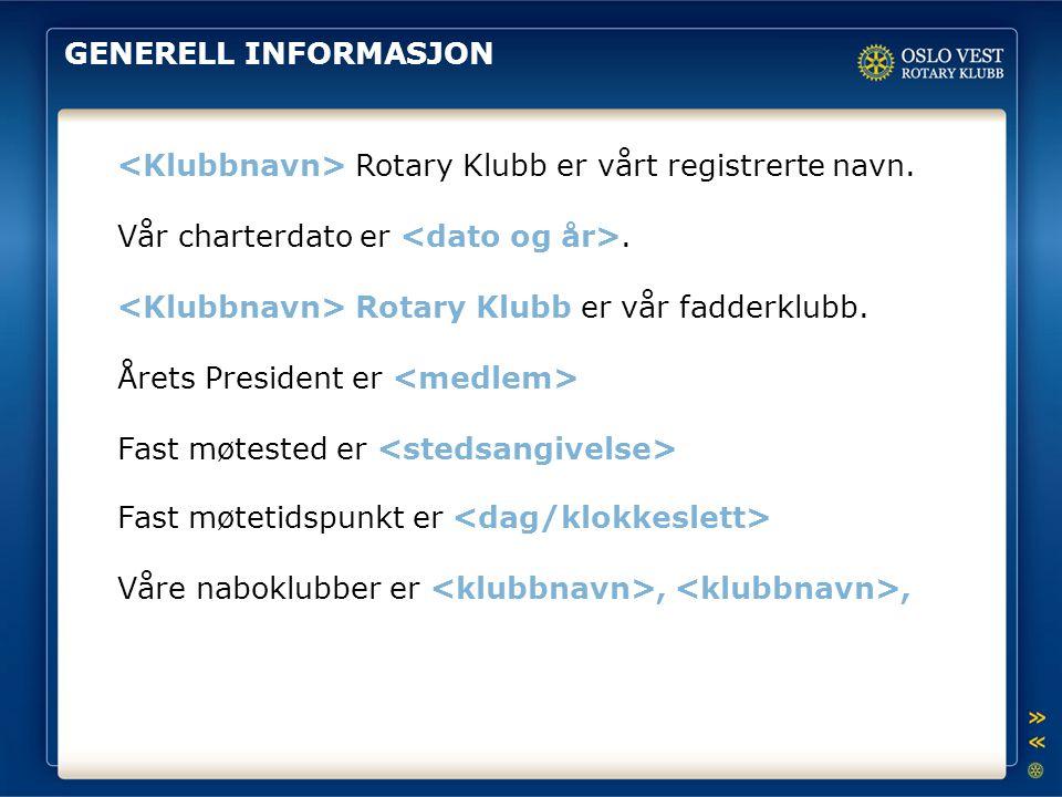 GENERELL INFORMASJON Rotary Klubb er vårt registrerte navn. Vår charterdato er. Rotary Klubb er vår fadderklubb. Årets President er Fast møtested er F