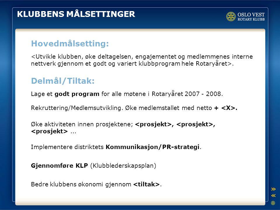 KLUBBENS MÅLSETTINGER Hovedmålsetting: Delmål/Tiltak:. Lage et godt program for alle møtene i Rotaryåret 2007 - 2008. Gjennomføre KLP (Klubblederskaps
