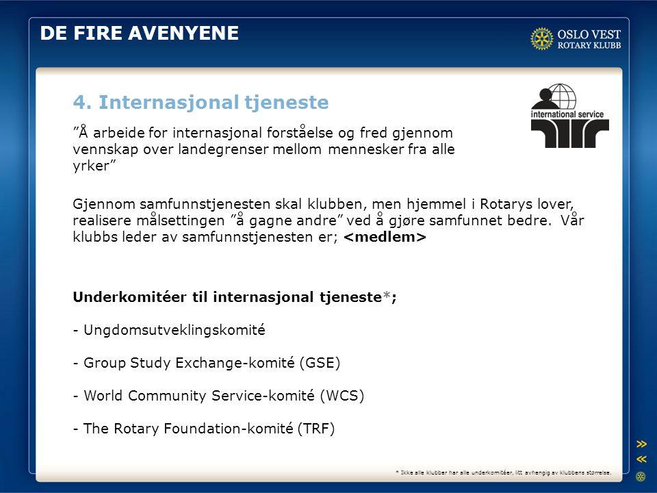 """DE FIRE AVENYENE 4. Internasjonal tjeneste """"Å arbeide for internasjonal forståelse og fred gjennom vennskap over landegrenser mellom mennesker fra all"""