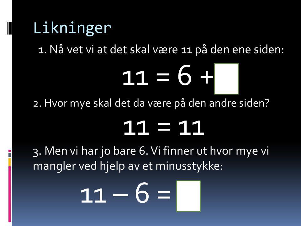 Likninger 11 = 6 + 5 1. Nå vet vi at det skal være 11 på den ene siden: 11 – 6 = 5 2. Hvor mye skal det da være på den andre siden? 3. Men vi har jo b