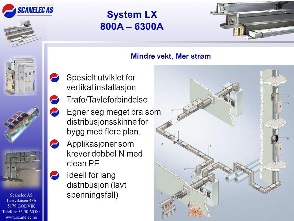 System LX 800A – 6300A Spesielt utviklet for vertikal installasjon Applikasjoner som krever dobbel N med clean PE Trafo/Tavleforbindelse Egner seg meget bra som distribusjonsskinne for bygg med flere plan.