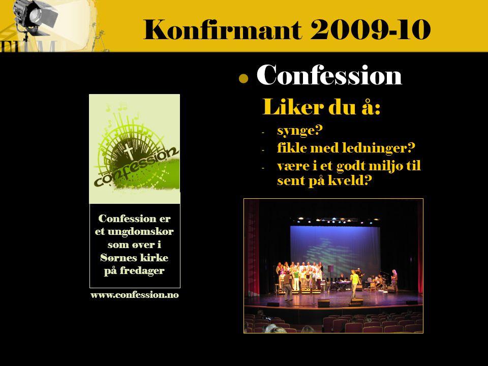 Konfirmant 2009-10 Confession Liker du å: - synge.