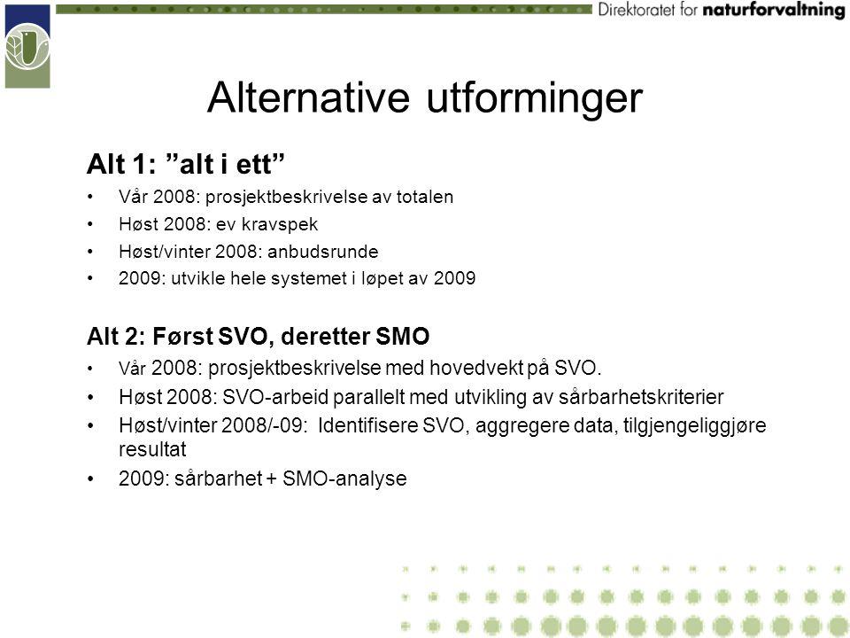 Alternative utforminger Alt 1: alt i ett Vår 2008: prosjektbeskrivelse av totalen Høst 2008: ev kravspek Høst/vinter 2008: anbudsrunde 2009: utvikle hele systemet i løpet av 2009 Alt 2: Først SVO, deretter SMO Vår 2008: prosjektbeskrivelse med hovedvekt på SVO.