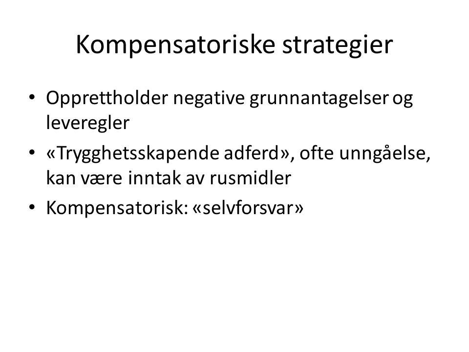 Kompensatoriske strategier Opprettholder negative grunnantagelser og leveregler «Trygghetsskapende adferd», ofte unngåelse, kan være inntak av rusmidl