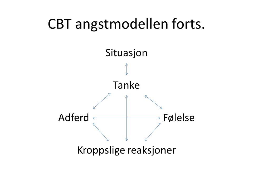 CBT angstmodellen forts. Situasjon Tanke Adferd Følelse Kroppslige reaksjoner