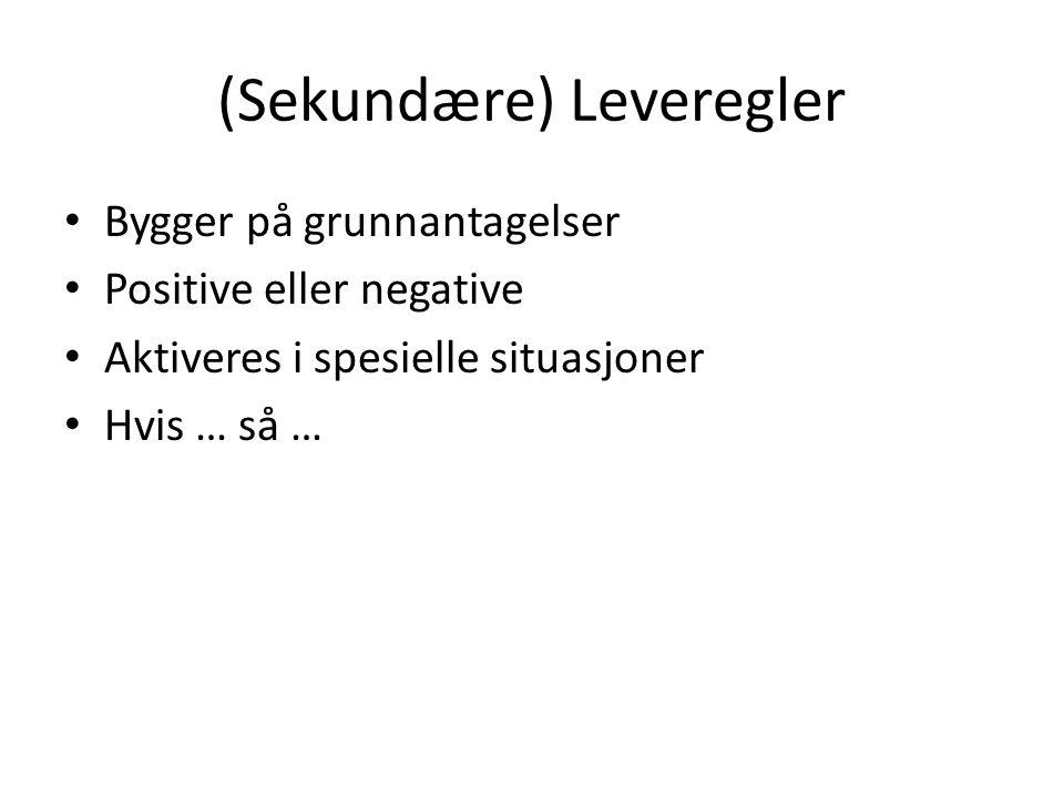 (Sekundære) Leveregler Bygger på grunnantagelser Positive eller negative Aktiveres i spesielle situasjoner Hvis … så …