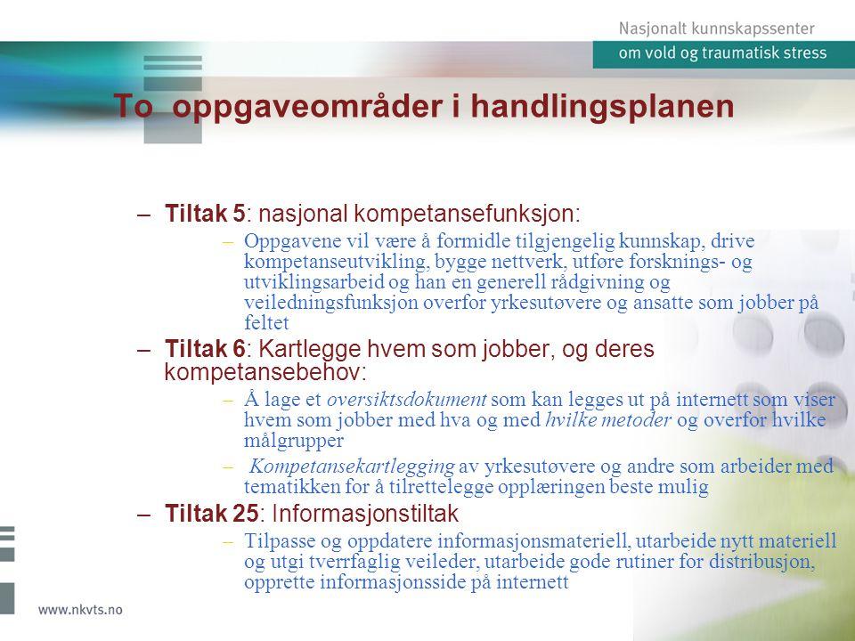 To oppgaveområder i handlingsplanen –Tiltak 5: nasjonal kompetansefunksjon: –Oppgavene vil være å formidle tilgjengelig kunnskap, drive kompetanseutvi