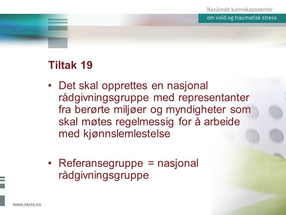 Tiltak 19 Det skal opprettes en nasjonal rådgivningsgruppe med representanter fra berørte miljøer og myndigheter som skal møtes regelmessig for å arbe