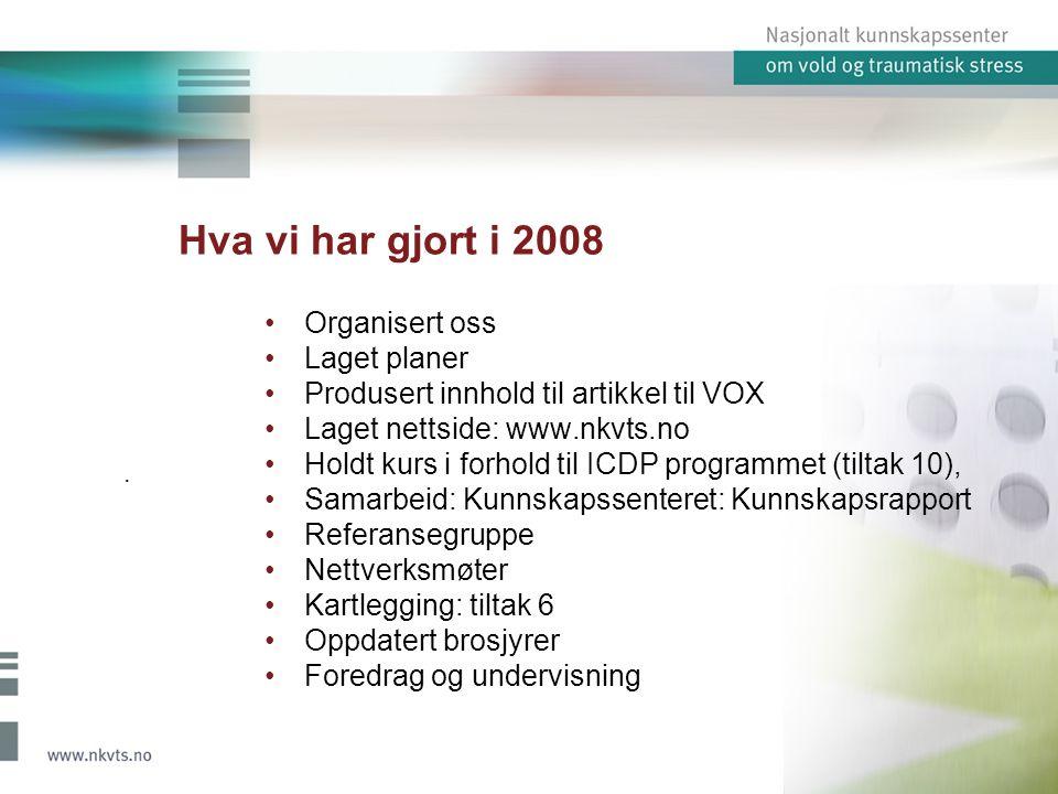 Hva vi har gjort i 2008 Organisert oss Laget planer Produsert innhold til artikkel til VOX Laget nettside: www.nkvts.no Holdt kurs i forhold til ICDP