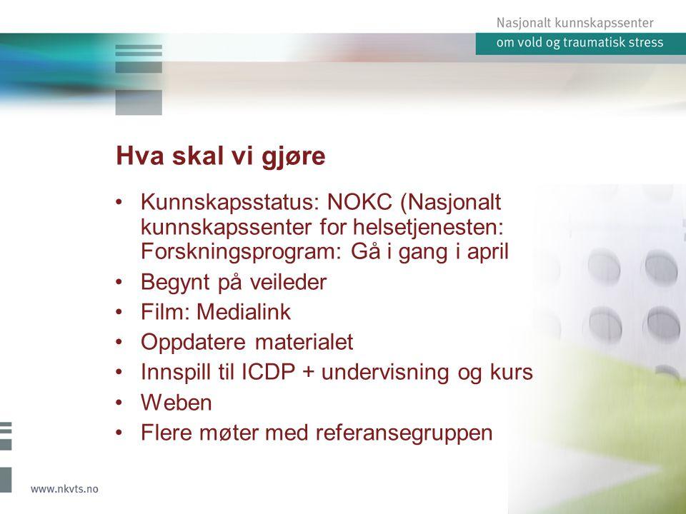 Hva skal vi gjøre Kunnskapsstatus: NOKC (Nasjonalt kunnskapssenter for helsetjenesten: Forskningsprogram: Gå i gang i april Begynt på veileder Film: M