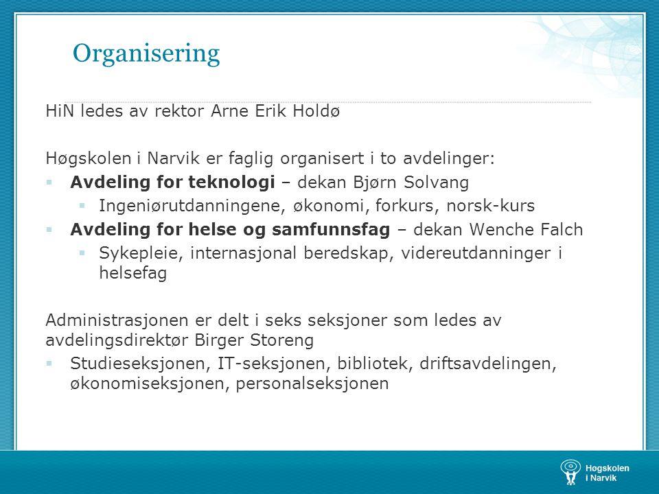 Organisering HiN ledes av rektor Arne Erik Holdø Høgskolen i Narvik er faglig organisert i to avdelinger:  Avdeling for teknologi – dekan Bjørn Solva