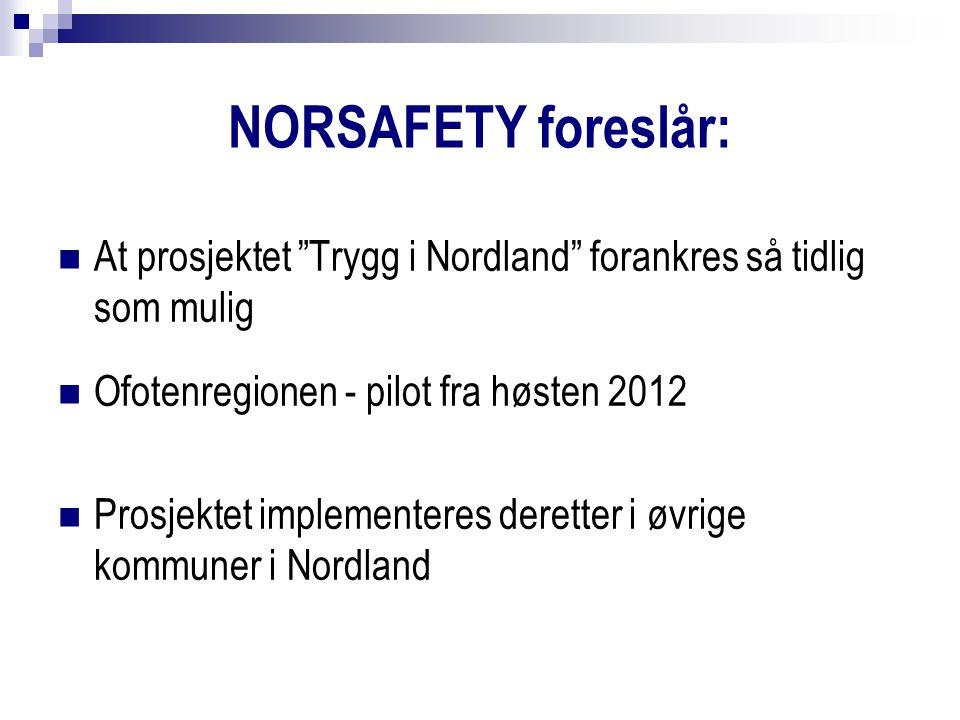 NORSAFETY foreslår: At prosjektet Trygg i Nordland forankres så tidlig som mulig Ofotenregionen - pilot fra høsten 2012 Prosjektet implementeres deretter i øvrige kommuner i Nordland