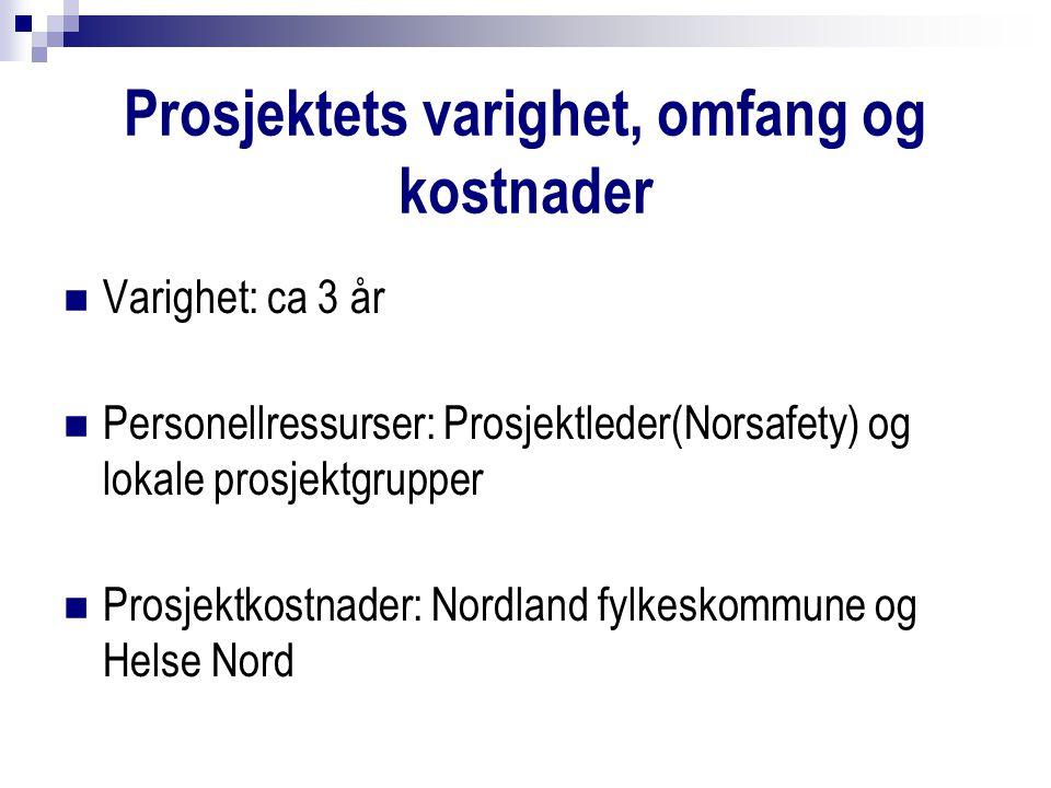 Prosjektets varighet, omfang og kostnader Varighet: ca 3 år Personellressurser: Prosjektleder(Norsafety) og lokale prosjektgrupper Prosjektkostnader: Nordland fylkeskommune og Helse Nord