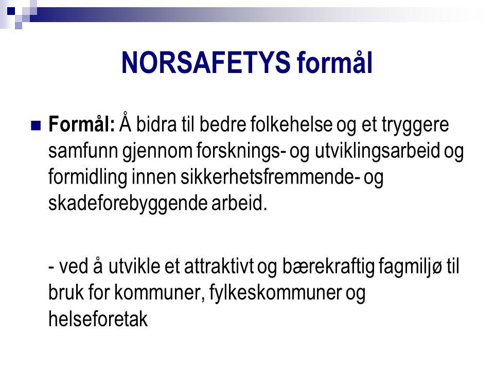 NORSAFETYS formål Formål: Å bidra til bedre folkehelse og et tryggere samfunn gjennom forsknings- og utviklingsarbeid og formidling innen sikkerhetsfremmende- og skadeforebyggende arbeid.