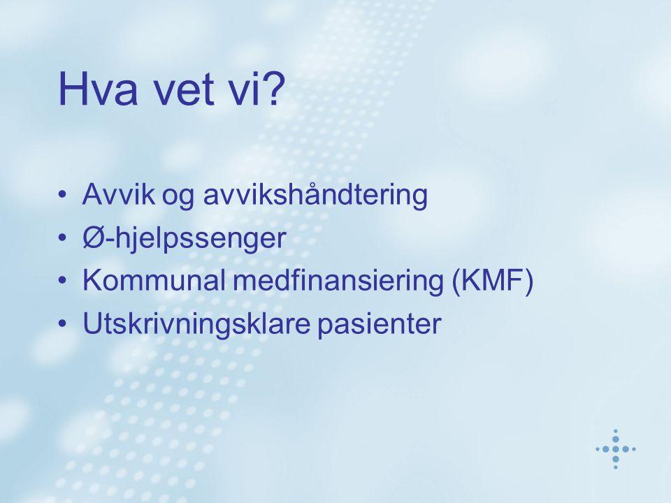 Hva vet vi? Avvik og avvikshåndtering Ø-hjelpssenger Kommunal medfinansiering (KMF) Utskrivningsklare pasienter