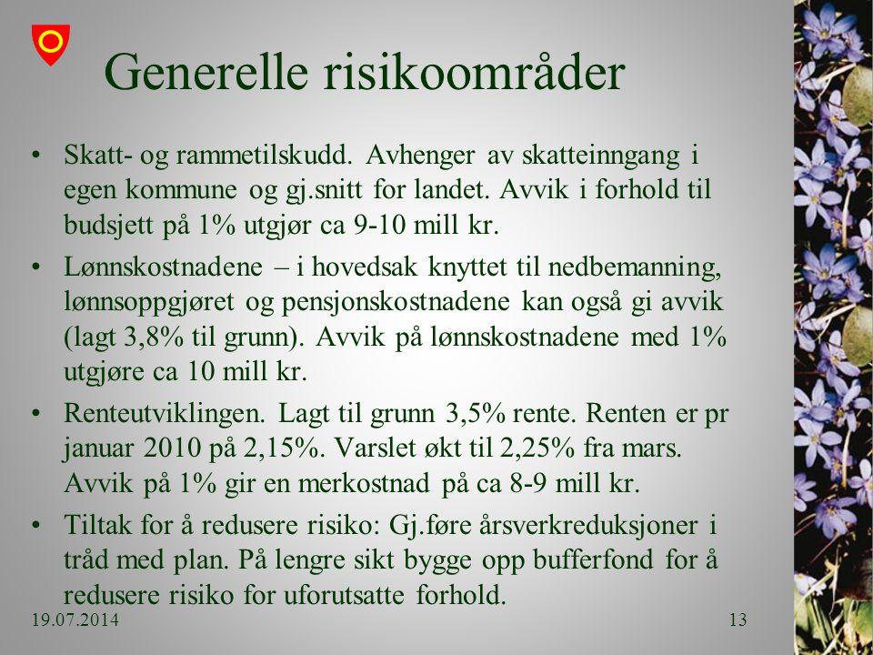 Generelle risikoområder Skatt- og rammetilskudd.