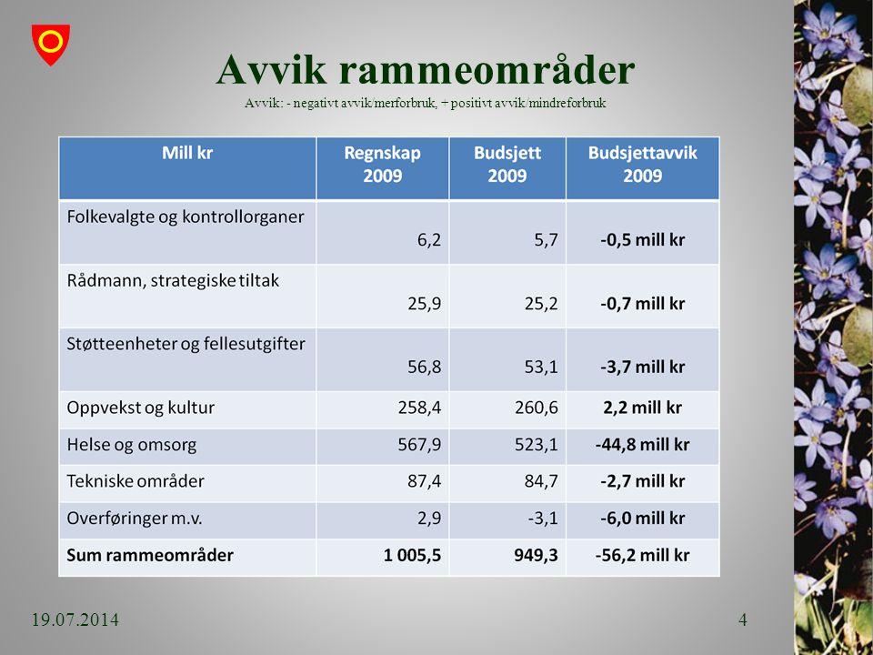 Avvik rammeområder Avvik: - negativt avvik/merforbruk, + positivt avvik/mindreforbruk 19.07.20144