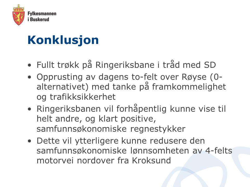 Konklusjon Fullt trøkk på Ringeriksbane i tråd med SD Opprusting av dagens to-felt over Røyse (0- alternativet) med tanke på framkommelighet og trafik