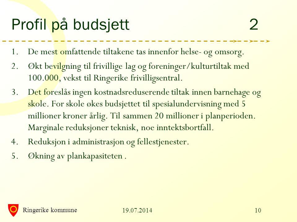 Ringerike kommune 19.07.201410 Profil på budsjett 2 1.De mest omfattende tiltakene tas innenfor helse- og omsorg. 2.Økt bevilgning til frivillige lag