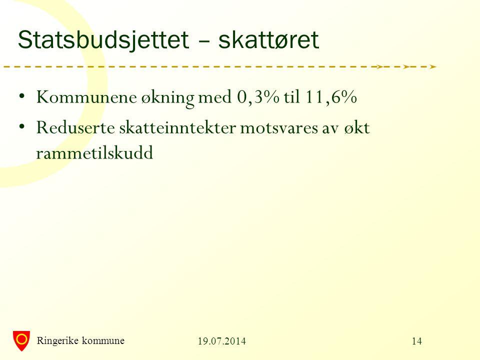 Ringerike kommune Statsbudsjettet – skattøret Kommunene økning med 0,3% til 11,6% Reduserte skatteinntekter motsvares av økt rammetilskudd 19.07.20141