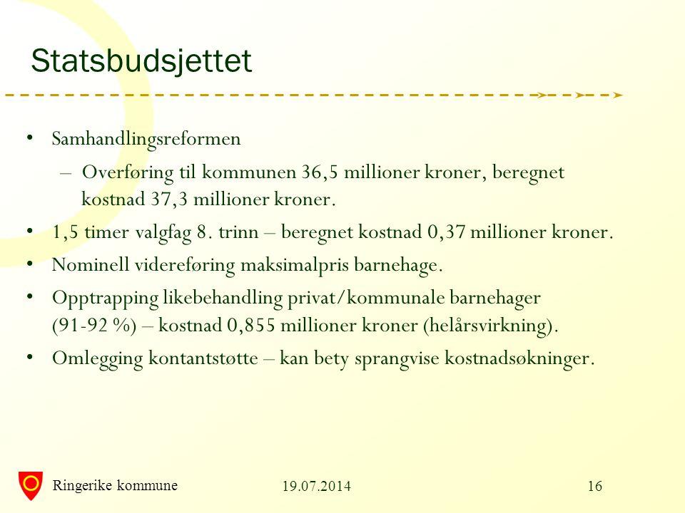 Ringerike kommune Statsbudsjettet Samhandlingsreformen –Overføring til kommunen 36,5 millioner kroner, beregnet kostnad 37,3 millioner kroner. 1,5 tim