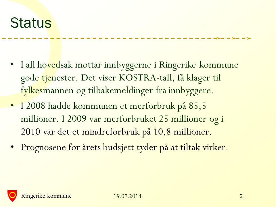 Ringerike kommune 19.07.20142 Status I all hovedsak mottar innbyggerne i Ringerike kommune gode tjenester. Det viser KOSTRA-tall, få klager til fylkes