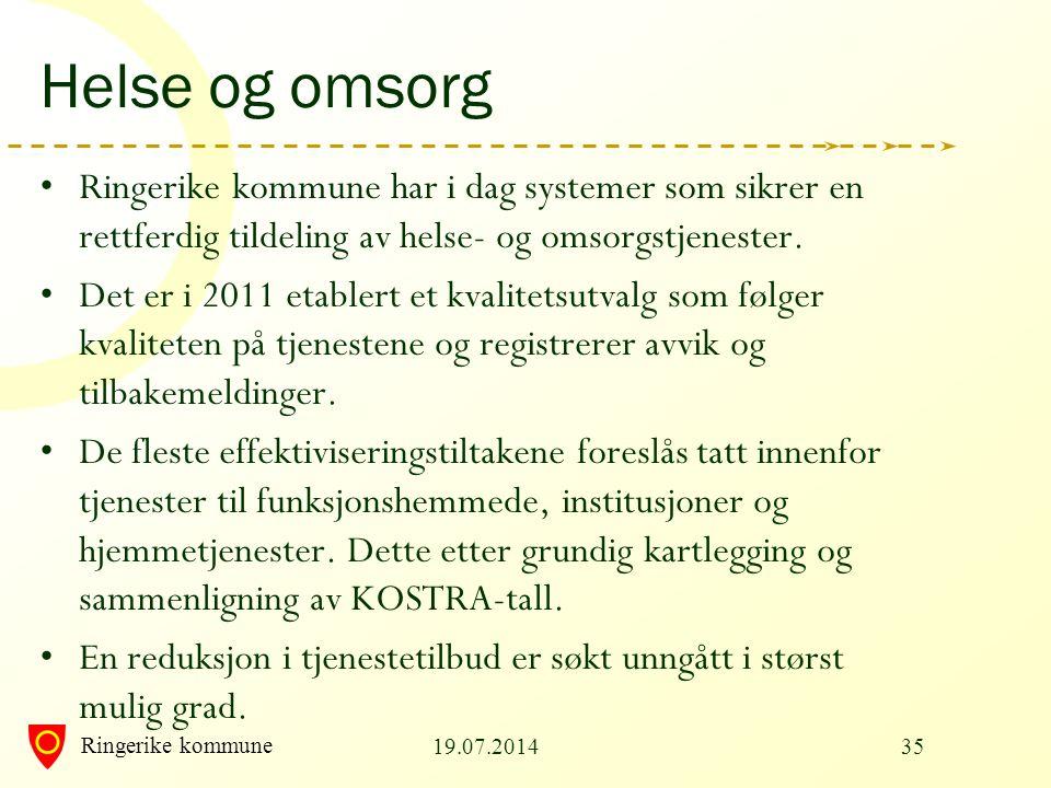 Ringerike kommune Helse og omsorg Ringerike kommune har i dag systemer som sikrer en rettferdig tildeling av helse- og omsorgstjenester. Det er i 2011