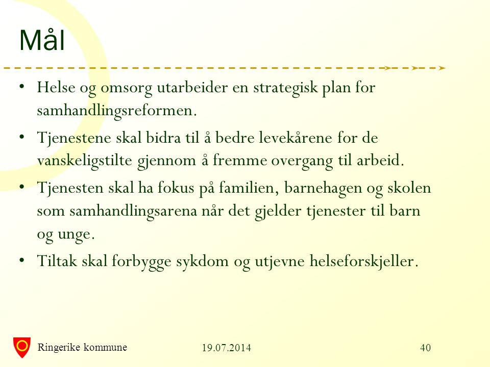 Ringerike kommune Mål Helse og omsorg utarbeider en strategisk plan for samhandlingsreformen. Tjenestene skal bidra til å bedre levekårene for de vans