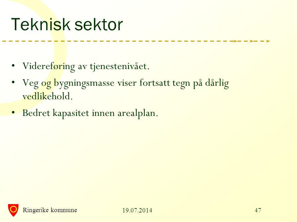 Ringerike kommune Teknisk sektor Videreføring av tjenestenivået. Veg og bygningsmasse viser fortsatt tegn på dårlig vedlikehold. Bedret kapasitet inne